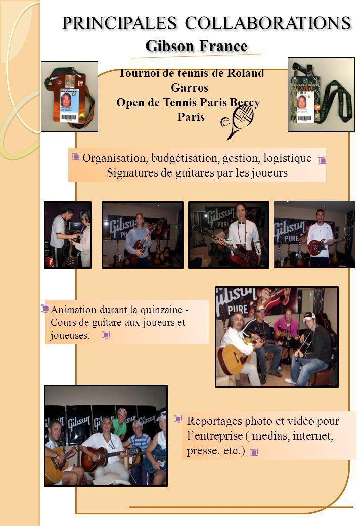 Tournoi de tennis de Roland Garros Open de Tennis Paris Bercy Paris Organisation, budgétisation, gestion, logistique Signatures de guitares par les jo