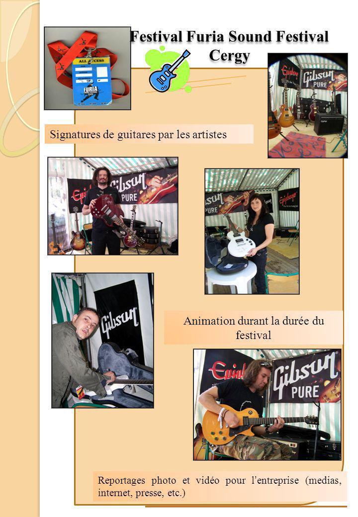 Signatures de guitares par les artistes Festival Furia Sound Festival Cergy Festival Furia Sound Festival Cergy Animation durant la durée du festival Reportages photo et vidéo pour l entreprise (medias, internet, presse, etc.)