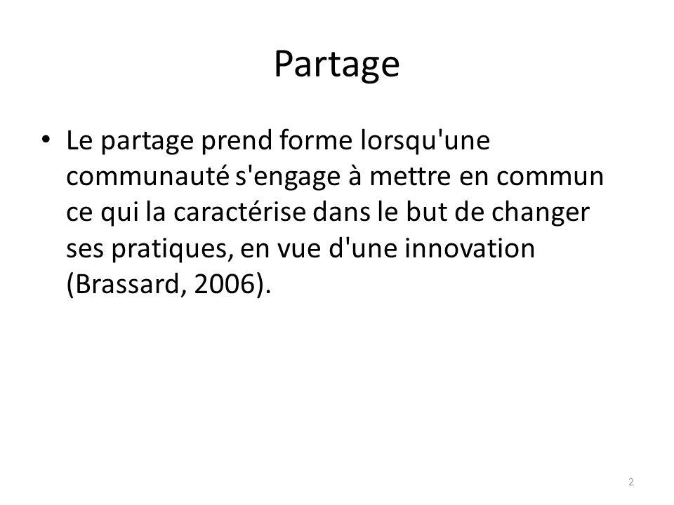 Partage Le partage prend forme lorsqu une communauté s engage à mettre en commun ce qui la caractérise dans le but de changer ses pratiques, en vue d une innovation (Brassard, 2006).