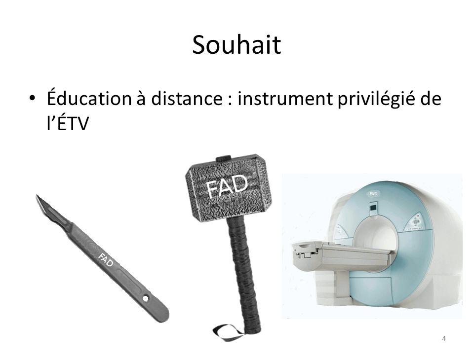Souhait Éducation à distance : instrument privilégié de lÉTV 4