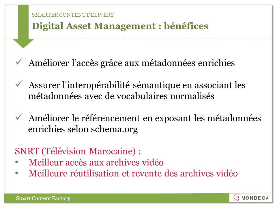 SMARTER CONTENT DELIVERY Digital Asset Management : bénéfices Smart Content Factory Améliorer laccès grâce aux métadonnées enrichies Assurer l'interop