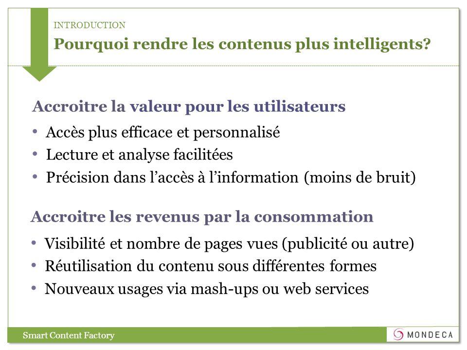 INTRODUCTION Pourquoi rendre les contenus plus intelligents? Accès plus efficace et personnalisé Lecture et analyse facilitées Précision dans laccès à