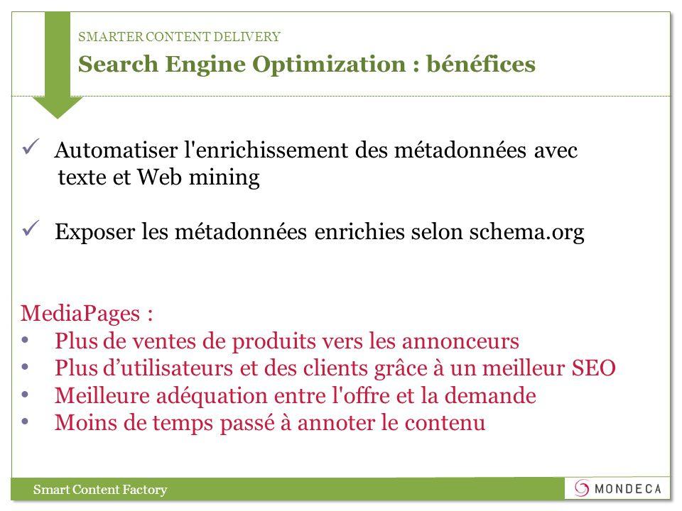 SMARTER CONTENT DELIVERY Search Engine Optimization : bénéfices Smart Content Factory Automatiser l'enrichissement des métadonnées avec texte et Web m