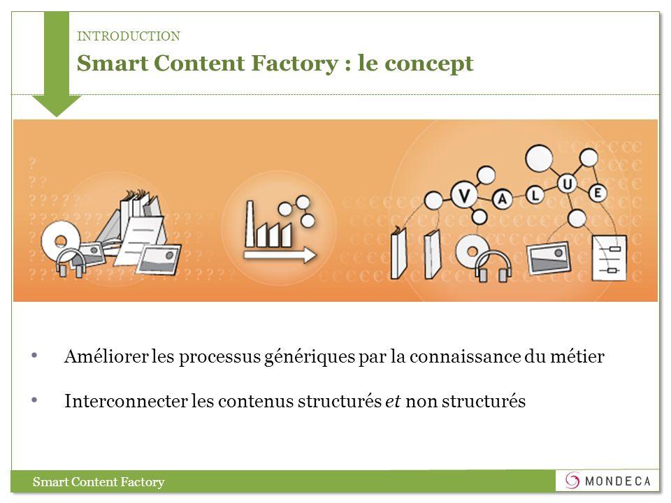 INTRODUCTION Smart Content Factory : le concept Améliorer les processus génériques par la connaissance du métier Interconnecter les contenus structuré
