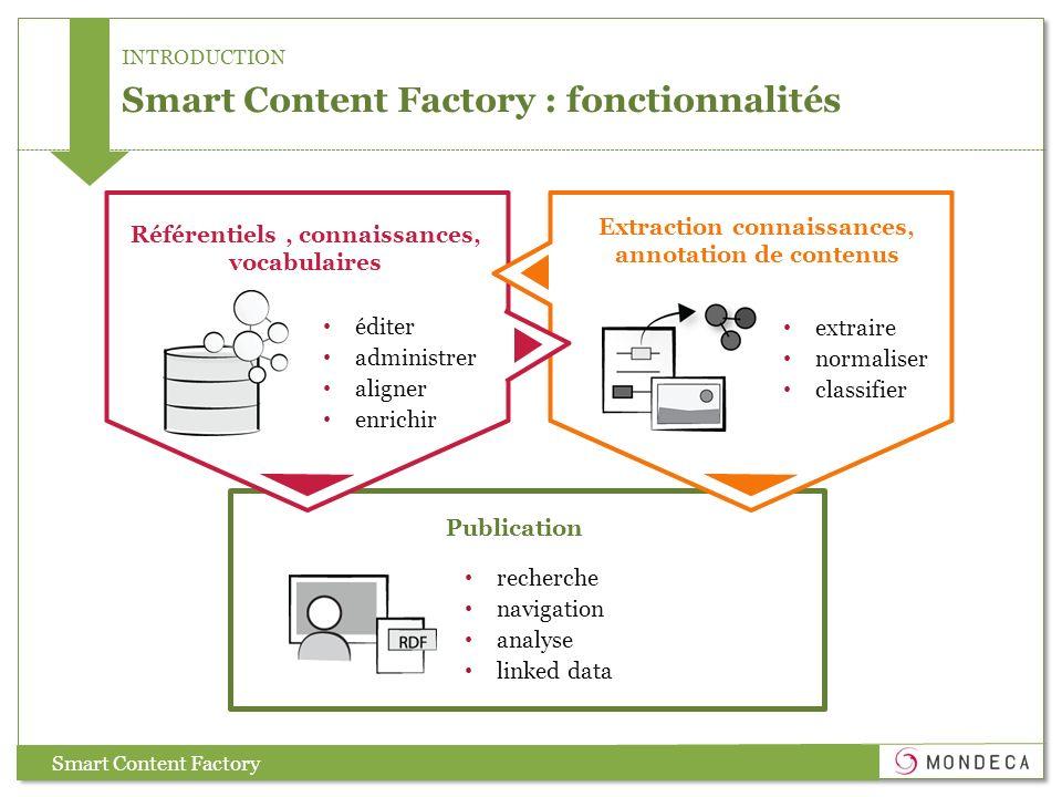 Smart Content Factory : fonctionnalités Référentiels, connaissances, vocabulaires éditer administrer aligner enrichir extraire normaliser classifier E
