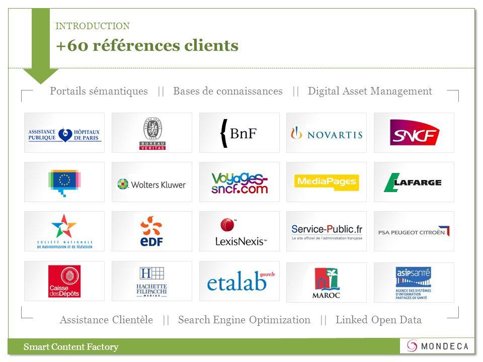 +60 références clients Assistance Clientèle || Search Engine Optimization || Linked Open Data Portails sémantiques || Bases de connaissances || Digital Asset Management Smart Content Factory