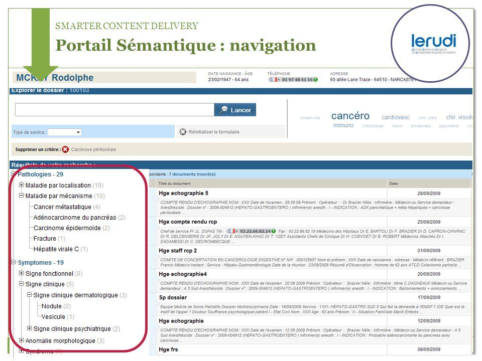 SMARTER CONTENT DELIVERY Portail Sémantique : navigation