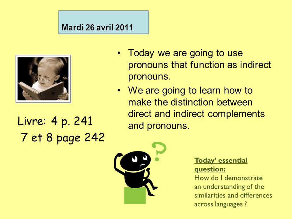 Mardi 26 avril 2011 Today we are going to use pronouns that function as indirect pronouns.