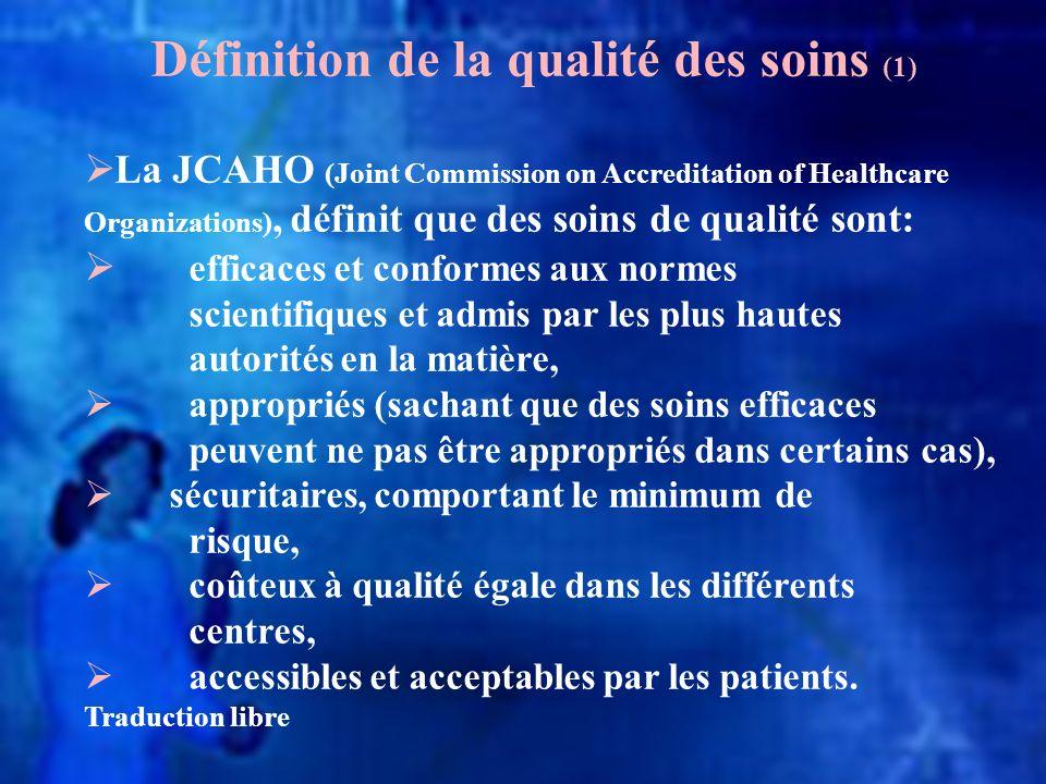 La JCAHO (Joint Commission on Accreditation of Healthcare Organizations), définit que des soins de qualité sont: efficaces et conformes aux normes sci