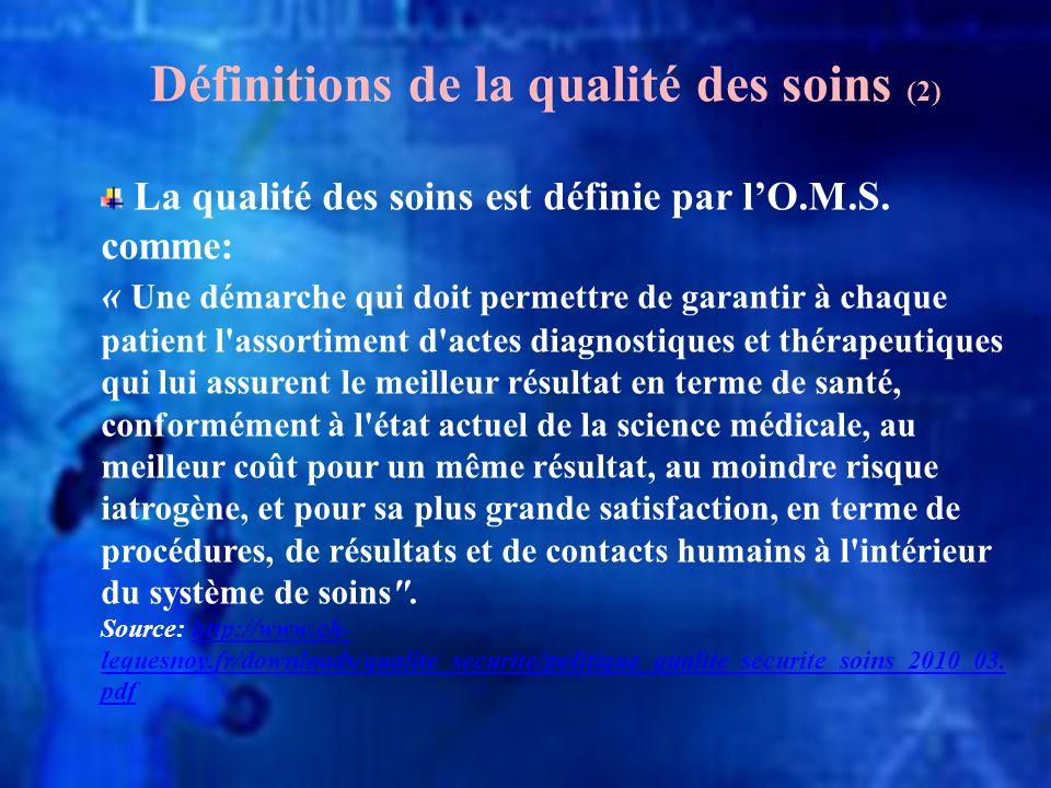 Définitions de la qualité des soins (2) La qualité des soins est définie par lO.M.S. comme: « Une démarche qui doit permettre de garantir à chaque pat