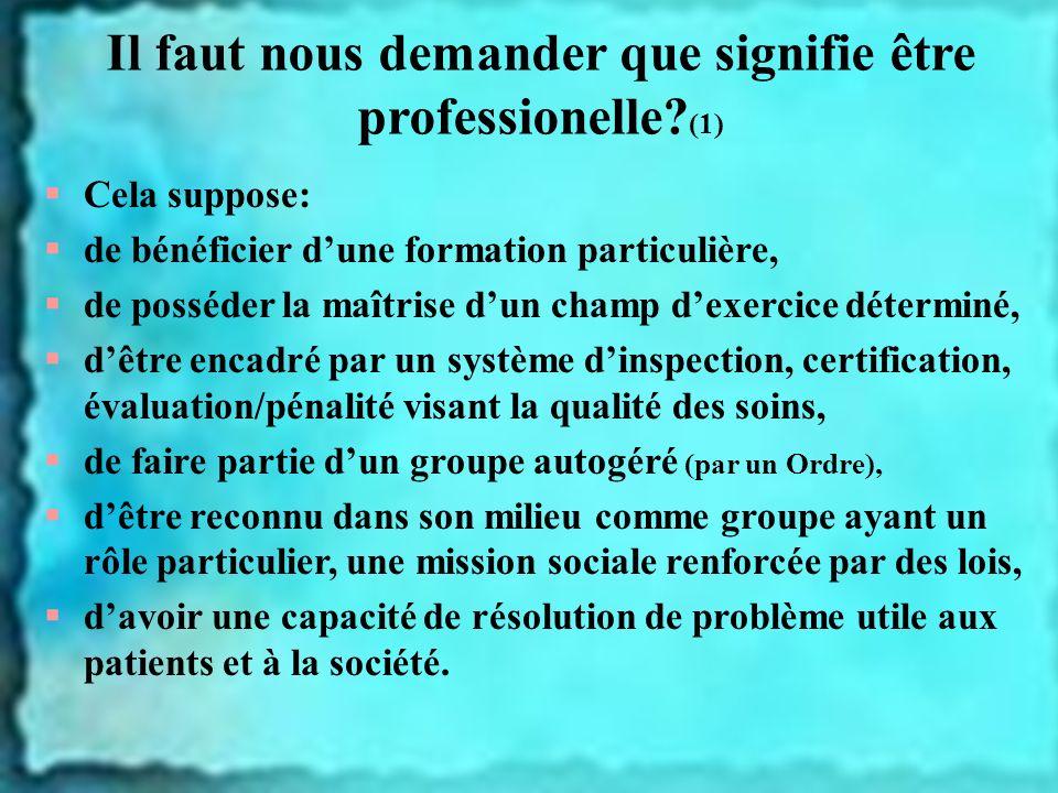 Il faut nous demander que signifie être professionelle? (1) Cela suppose: de bénéficier dune formation particulière, de posséder la maîtrise dun champ