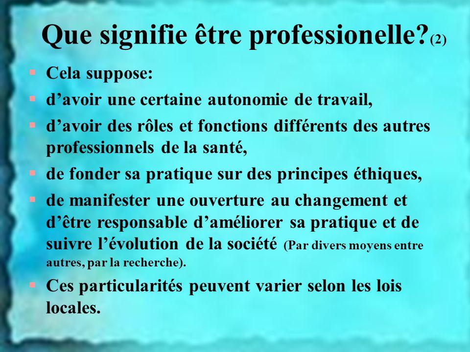 Que signifie être professionelle? (2) Cela suppose: davoir une certaine autonomie de travail, davoir des rôles et fonctions différents des autres prof