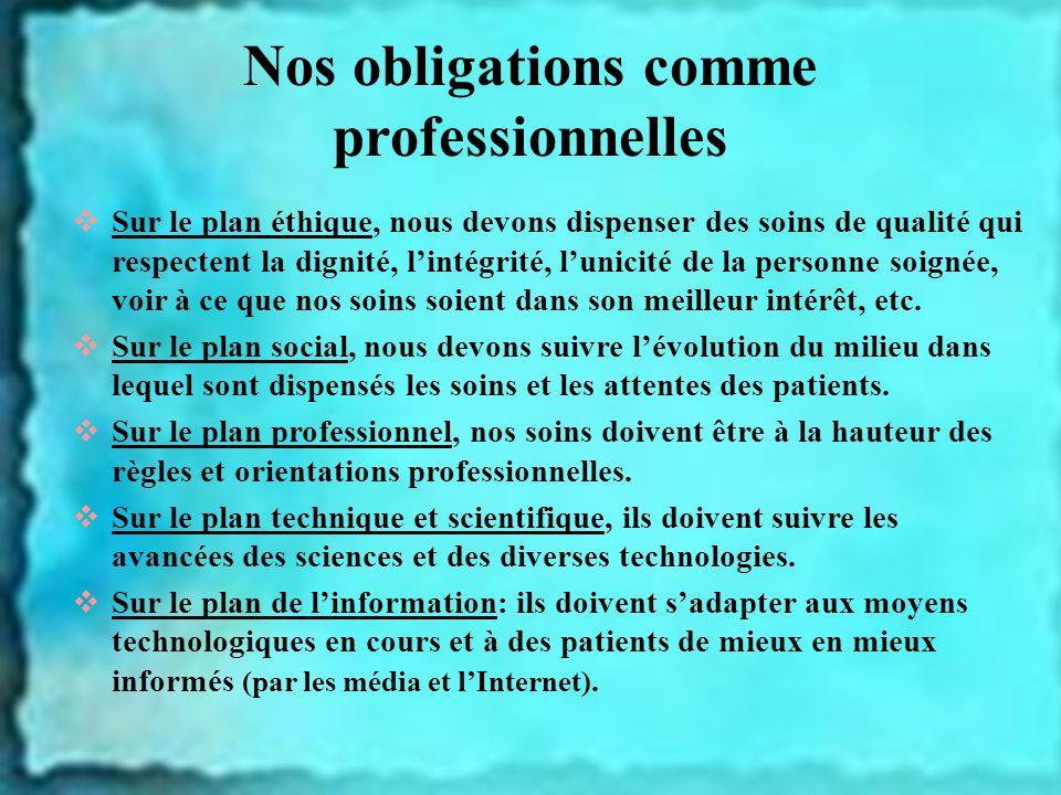 Nos obligations comme professionnelles Sur le plan éthique, nous devons dispenser des soins de qualité qui respectent la dignité, lintégrité, lunicité