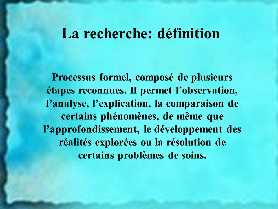 La recherche: définition Processus formel, composé de plusieurs étapes reconnues. Il permet lobservation, lanalyse, lexplication, la comparaison de ce