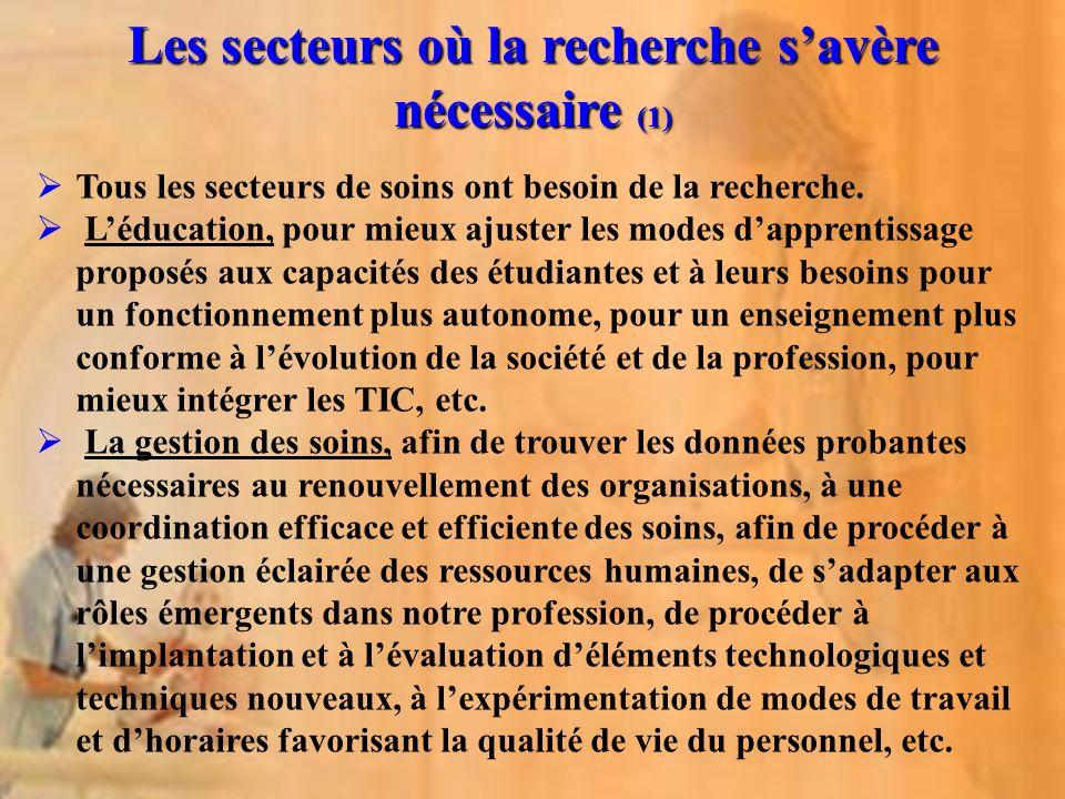 Les secteurs où la recherche savère nécessaire (1) Tous les secteurs de soins ont besoin de la recherche. Léducation, pour mieux ajuster les modes dap