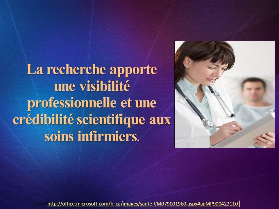 La recherche apporte une visibilité professionnelle et une crédibilité scientifique aux soins infirmiers. Image: http://office.microsoft.com/fr-ca/ima