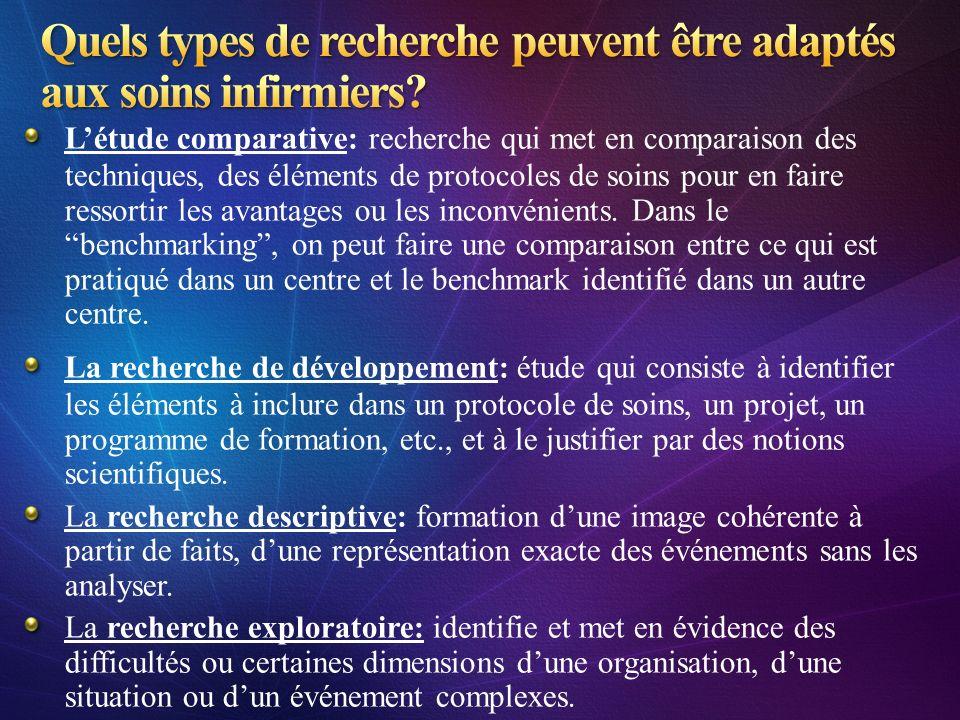 Létude comparative: recherche qui met en comparaison des techniques, des éléments de protocoles de soins pour en faire ressortir les avantages ou les