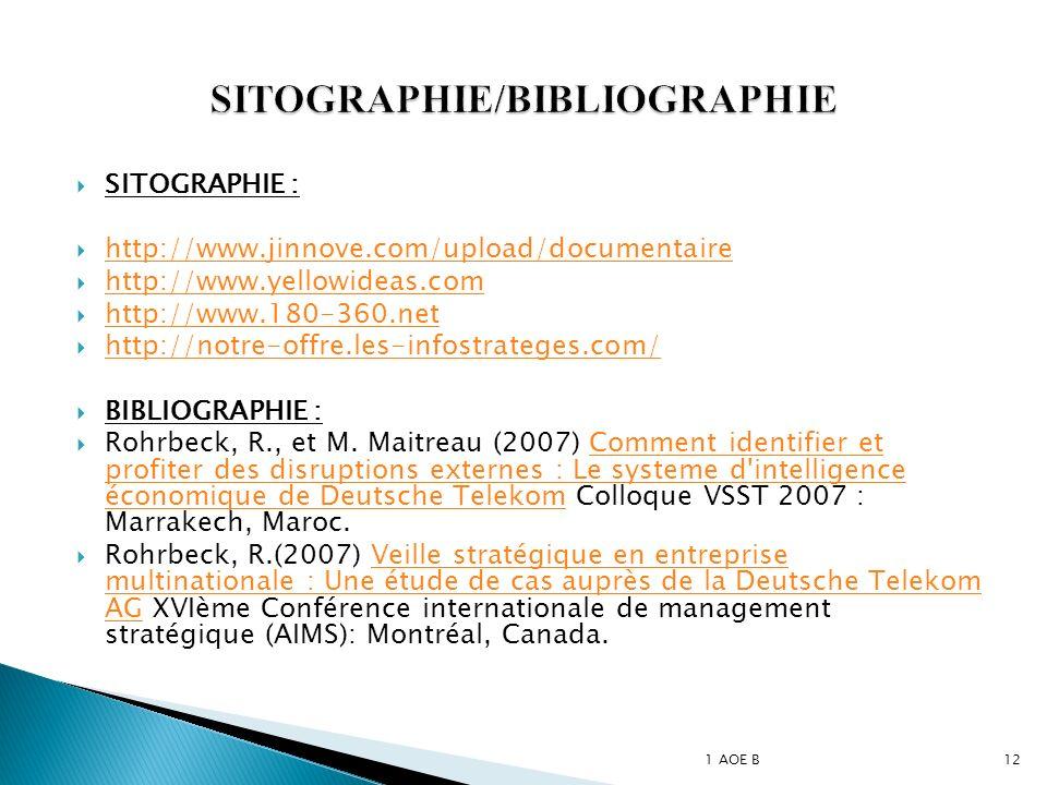 SITOGRAPHIE : http://www.jinnove.com/upload/documentaire http://www.yellowideas.com http://www.180-360.net http://notre-offre.les-infostrateges.com/ BIBLIOGRAPHIE : Rohrbeck, R., et M.