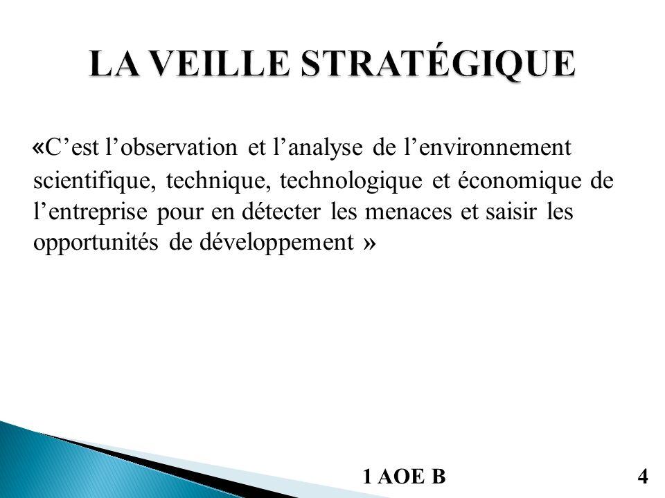 « Cest lobservation et lanalyse de lenvironnement scientifique, technique, technologique et économique de lentreprise pour en détecter les menaces et saisir les opportunités de développement » 1 AOE B4