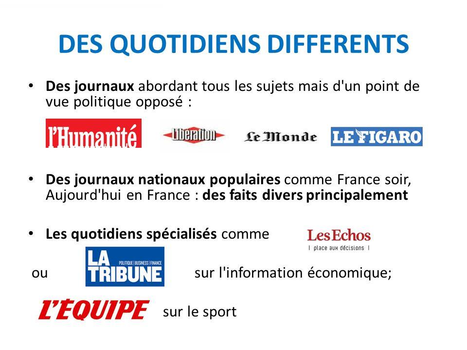 QUOTIDIENS REGIONAUX 17 millions de lecteurs et plus de 5 millions dexemplaires diffusés : le premier média dinformation des Français Des pages internationales et nationales comme les autres quotidiens.
