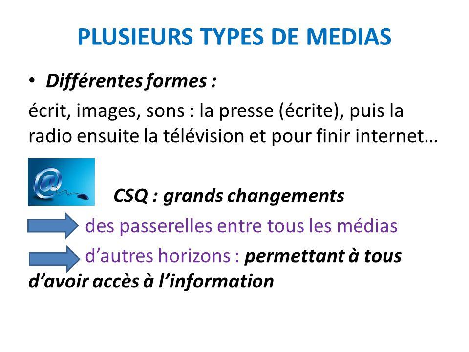 LA CREATION DES PRINCIPAUX MEDIAS Petit jeu : quand sont nés La presse écrite avec les journaux, La radio, la télévision, Internet?