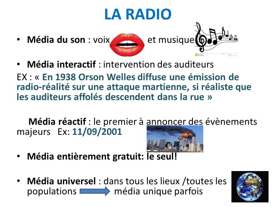 LA RADIO : PRIVEE ET PUBLIQUE 1922 : première société de radio française SFR = Société Française Radio électrique 1922 : SFR crée Radiola, 1 ère radio privée Radio Paris en 1924 1933 : nationalisation de Radio Paris