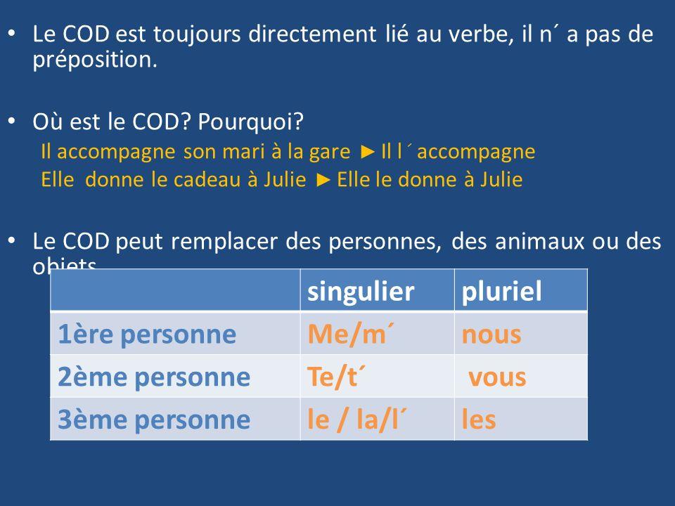 Le COD est toujours directement lié au verbe, il n´ a pas de préposition.