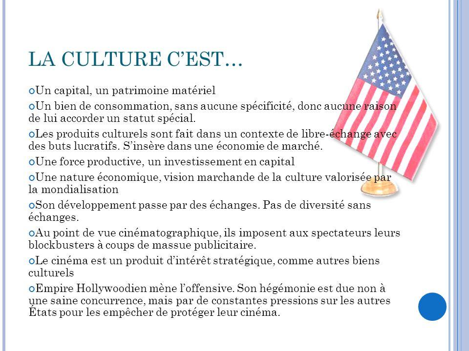 LES ÉTATS-UNIS ET LUNESCO Ont réintégré lUNESCO en 2003 Sont intervenus vigoureusement lorsque la France et le Canada voulait déplacer les questions culturelles de lOMC à lUNESCO.