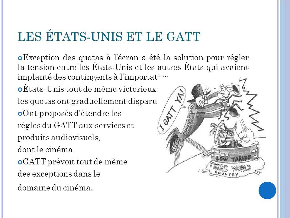 GATS Cycle de lUruguay en 1986-1994: création du GATS Soumis à la logique de lOMC: libéralisation du marché.