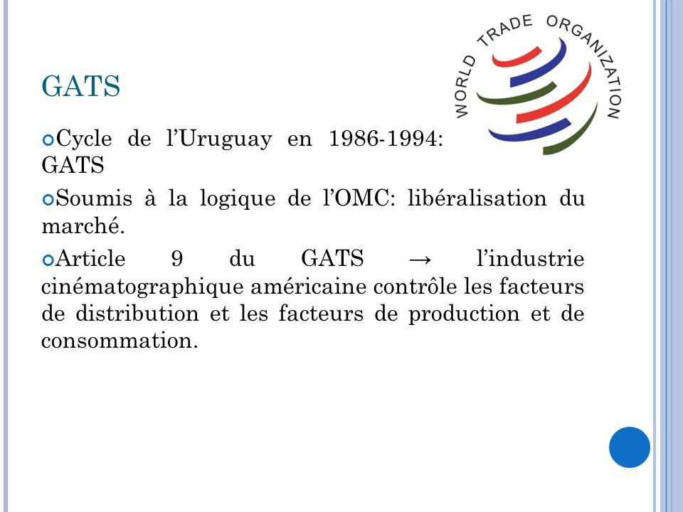GATS Cycle de lUruguay en 1986-1994: création du GATS Soumis à la logique de lOMC: libéralisation du marché. Article 9 du GATS lindustrie cinématograp