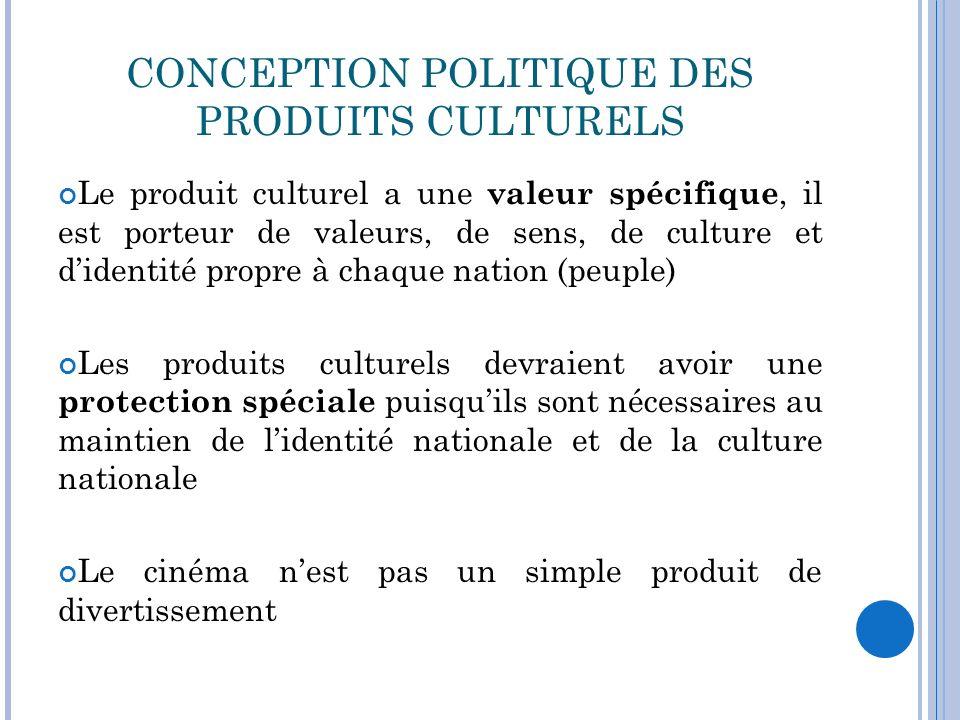 CONCEPTION POLITIQUE DES PRODUITS CULTURELS Le produit culturel a une valeur spécifique, il est porteur de valeurs, de sens, de culture et didentité p