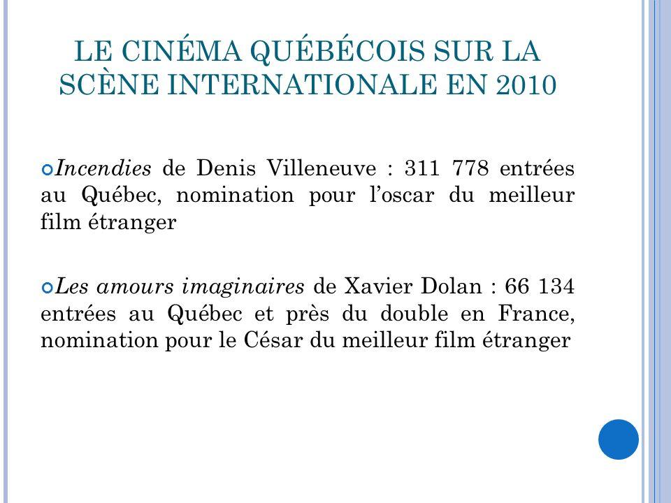 LE CINÉMA QUÉBÉCOIS SUR LA SCÈNE INTERNATIONALE EN 2010 Incendies de Denis Villeneuve : 311 778 entrées au Québec, nomination pour loscar du meilleur