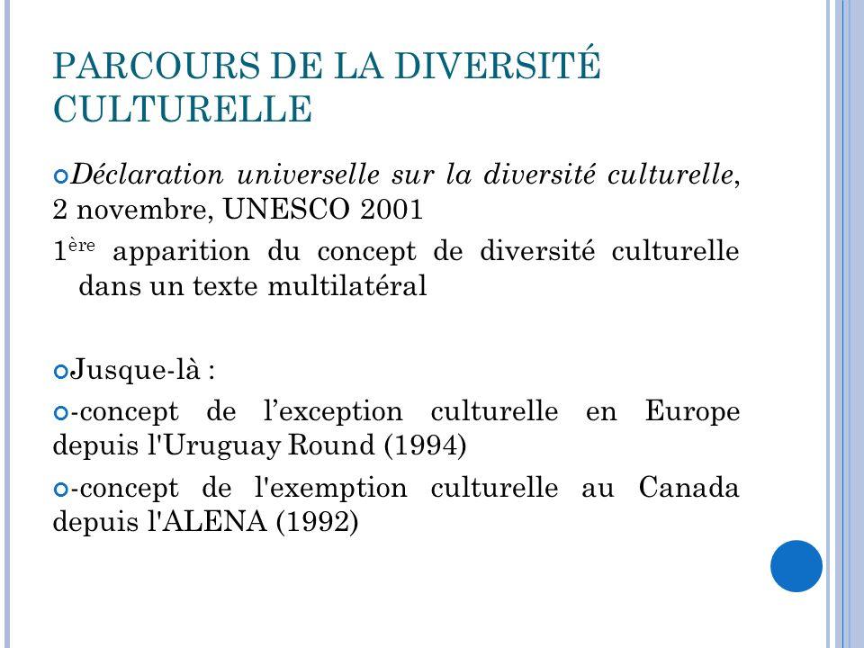 LA DIVERSITÉ CULTURELLE : STRATÉGIE FRANCO-CANADIENNE Dès 1998 : - Création du Réseau international pour les politiques culturelles (RIPC) à l initiative du Canada -Communiqué conjoint des premiers ministres français et canadien sur limportance de la diversité culturelle dans une économie mondiale