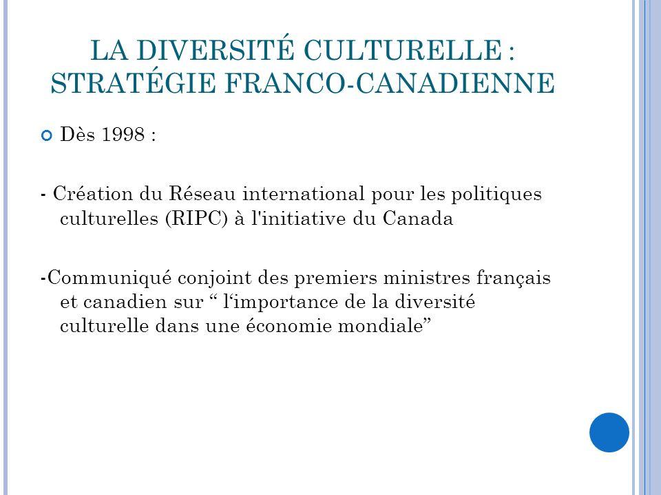 LA DIVERSITÉ CULTURELLE : STRATÉGIE FRANCO-CANADIENNE Sensibilisation et mobilisation des pays en développement concrétisées dans les Accords de Cotonou en 2001 (précédant Déclaration universelle sur la diversité ) grâce à la collaboration de l Organisation Internationale de la Francophonie et le RIPC.