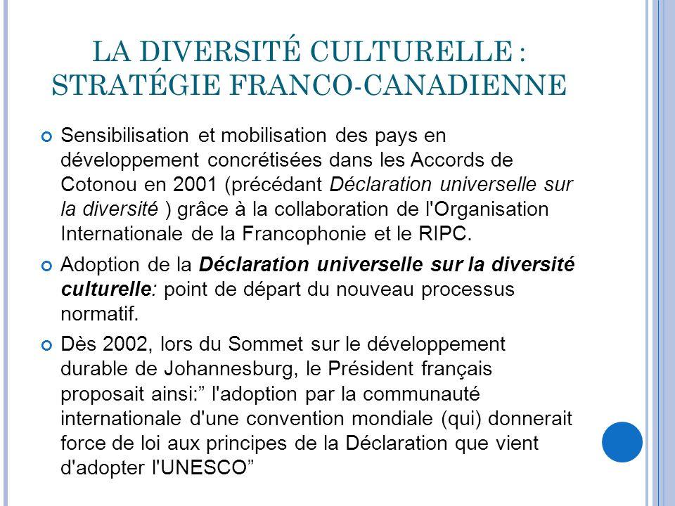 LA DIVERSITÉ CULTURELLE : STRATÉGIE FRANCO-CANADIENNE Sensibilisation et mobilisation des pays en développement concrétisées dans les Accords de Coton
