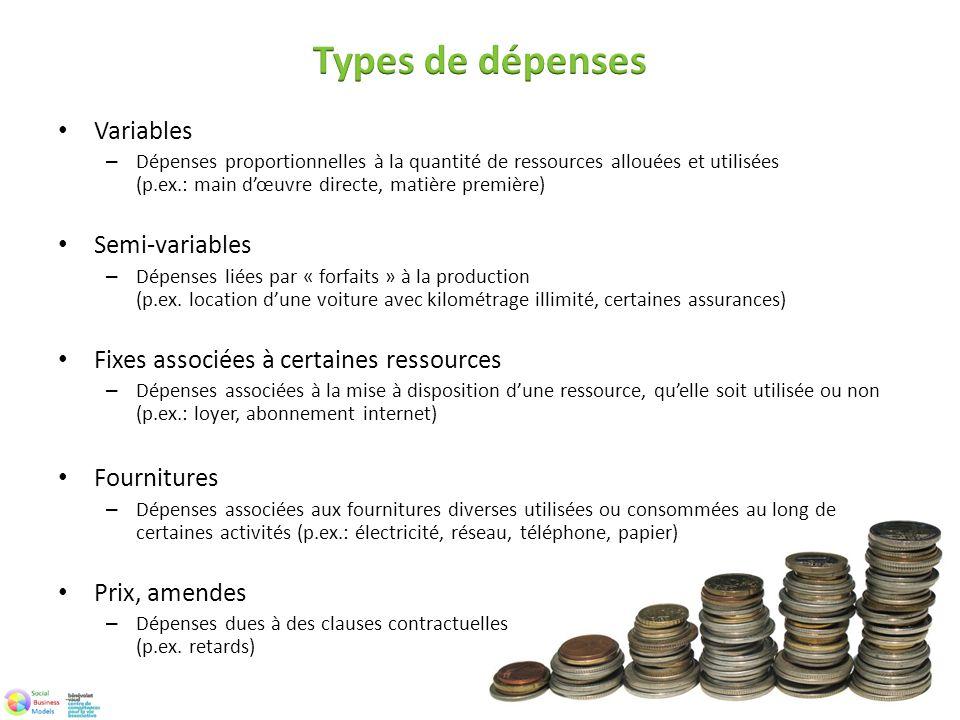 Variables – Dépenses proportionnelles à la quantité de ressources allouées et utilisées (p.ex.: main dœuvre directe, matière première) Semi-variables