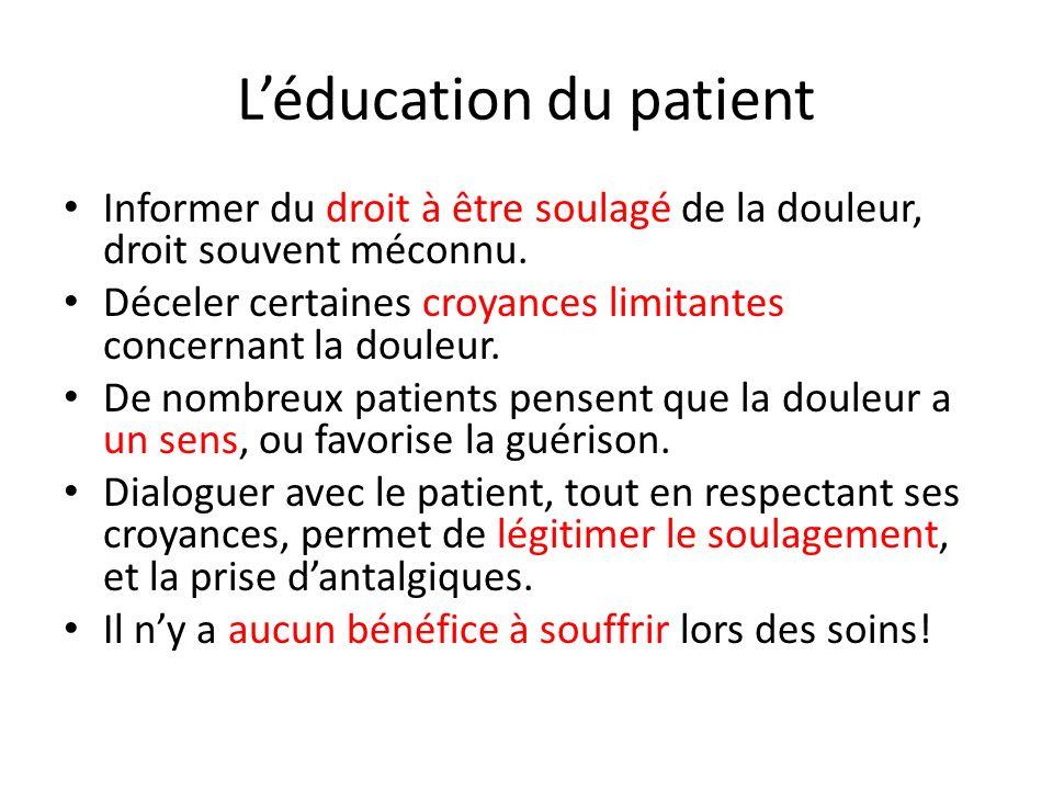 Léducation du patient Informer du droit à être soulagé de la douleur, droit souvent méconnu. Déceler certaines croyances limitantes concernant la doul