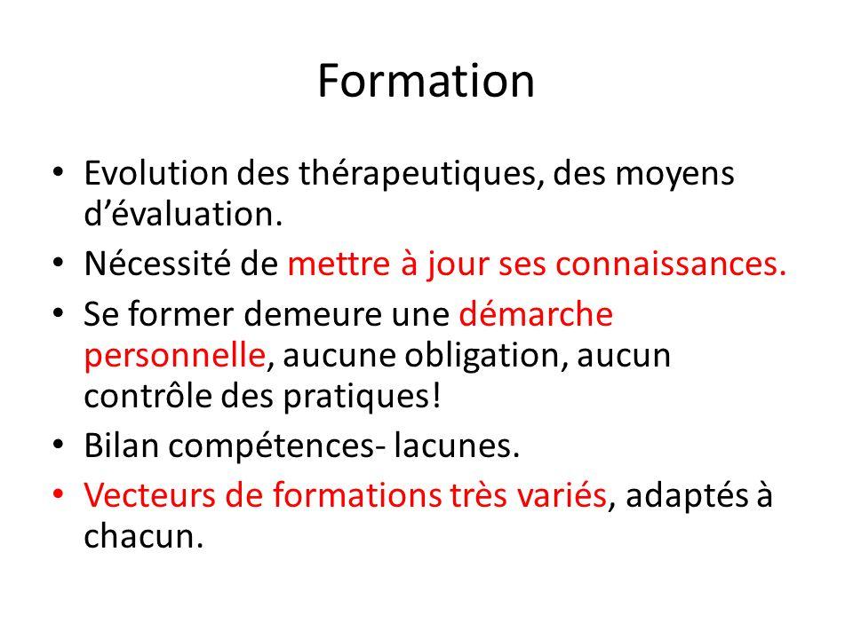 Formation Evolution des thérapeutiques, des moyens dévaluation. Nécessité de mettre à jour ses connaissances. Se former demeure une démarche personnel