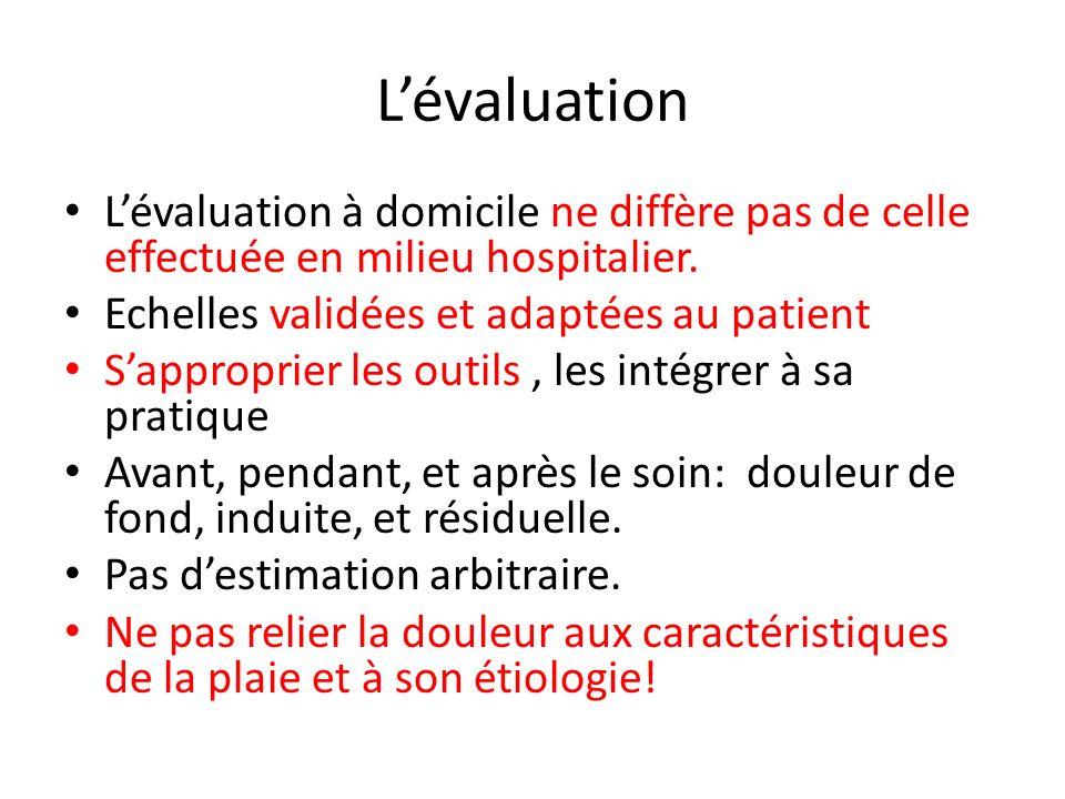 Lévaluation Lévaluation à domicile ne diffère pas de celle effectuée en milieu hospitalier. Echelles validées et adaptées au patient Sapproprier les o