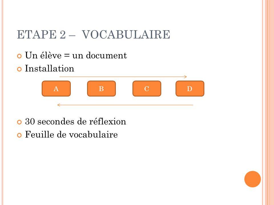 ETAPE 2 – VOCABULAIRE Un élève = un document Installation 30 secondes de réflexion Feuille de vocabulaire ABCD