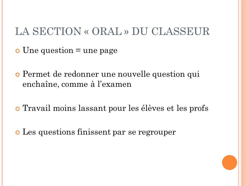 LA SECTION « ORAL » DU CLASSEUR Une question = une page Permet de redonner une nouvelle question qui enchaîne, comme à lexamen Travail moins lassant pour les élèves et les profs Les questions finissent par se regrouper