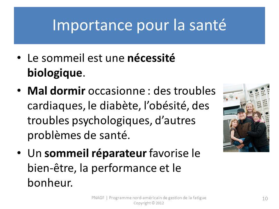 PNAGF   Programme nord-américain de gestion de la fatigue Copyright © 2012 10 Importance pour la santé Le sommeil est une nécessité biologique.