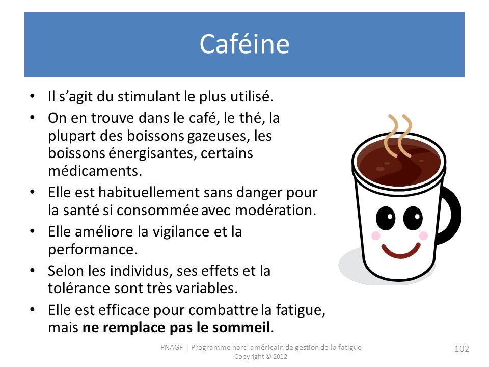 PNAGF   Programme nord-américain de gestion de la fatigue Copyright © 2012 102 Caféine Il sagit du stimulant le plus utilisé.