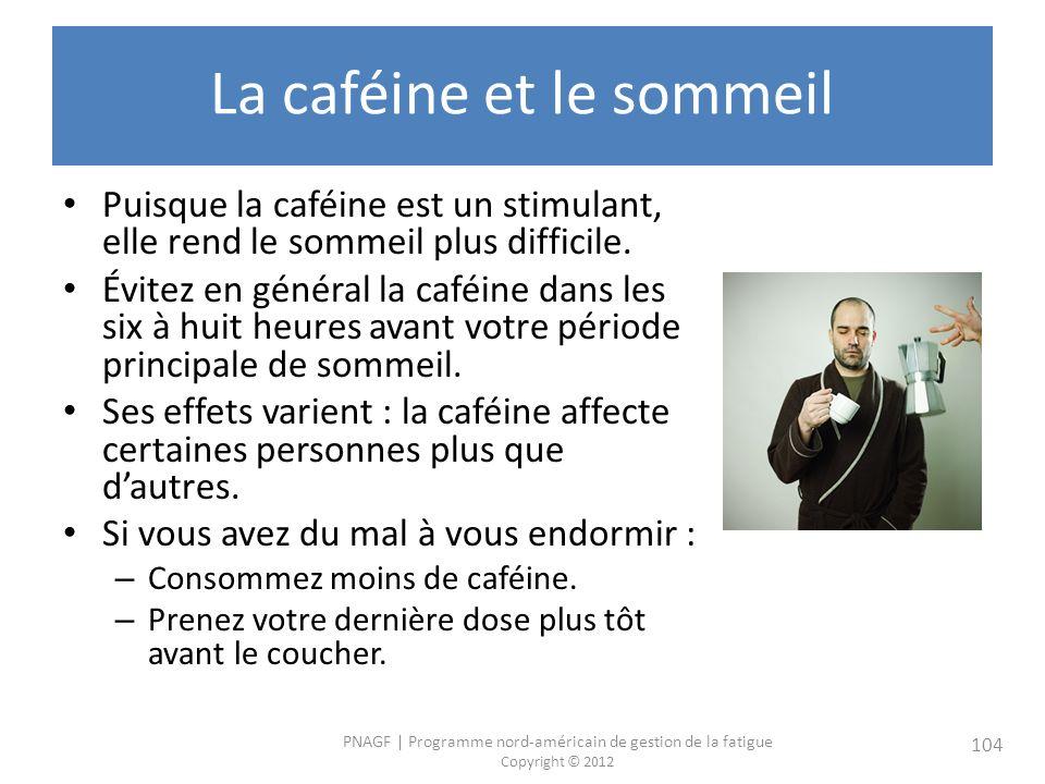 PNAGF   Programme nord-américain de gestion de la fatigue Copyright © 2012 104 La caféine et le sommeil Puisque la caféine est un stimulant, elle rend le sommeil plus difficile.