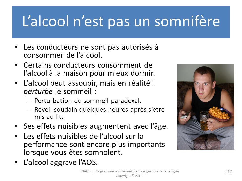 PNAGF   Programme nord-américain de gestion de la fatigue Copyright © 2012 110 Lalcool nest pas un somnifère Les conducteurs ne sont pas autorisés à consommer de lalcool.