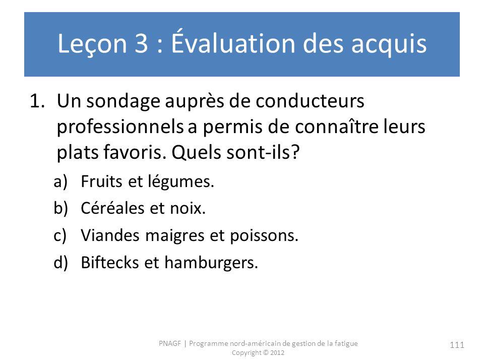 PNAGF   Programme nord-américain de gestion de la fatigue Copyright © 2012 111 Leçon 3 : Évaluation des acquis 1.Un sondage auprès de conducteurs professionnels a permis de connaître leurs plats favoris.