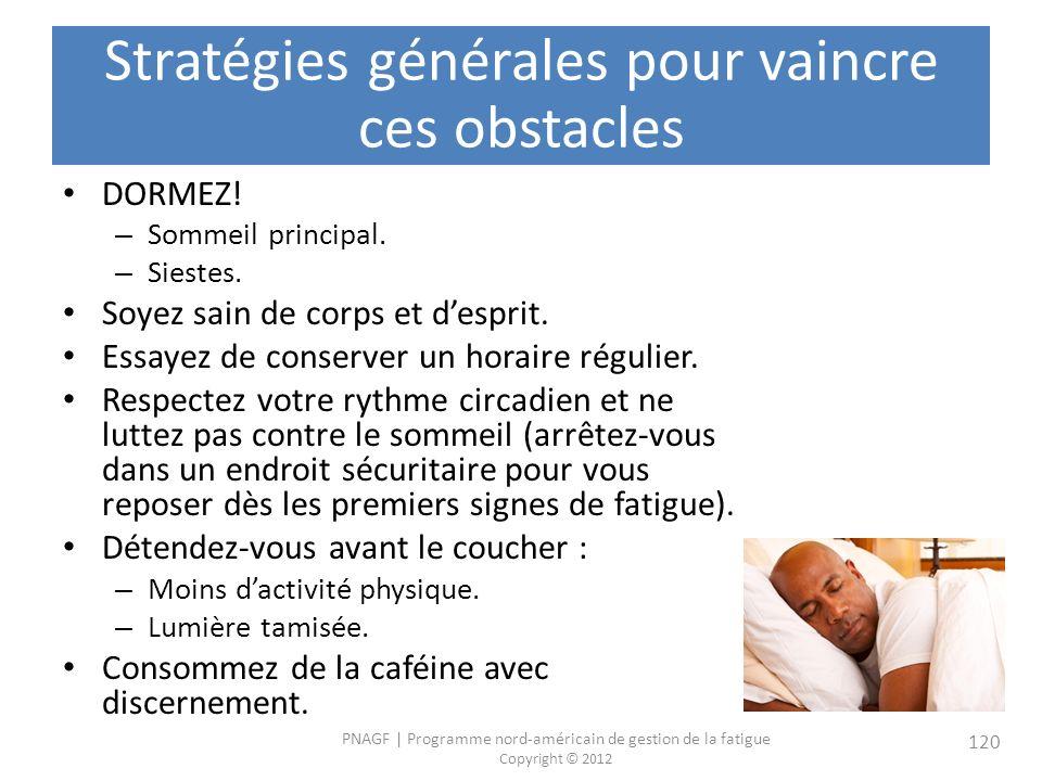 PNAGF   Programme nord-américain de gestion de la fatigue Copyright © 2012 120 Stratégies générales pour vaincre ces obstacles DORMEZ.