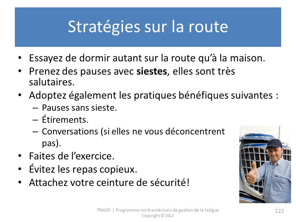 PNAGF   Programme nord-américain de gestion de la fatigue Copyright © 2012 122 Stratégies sur la route Essayez de dormir autant sur la route quà la maison.
