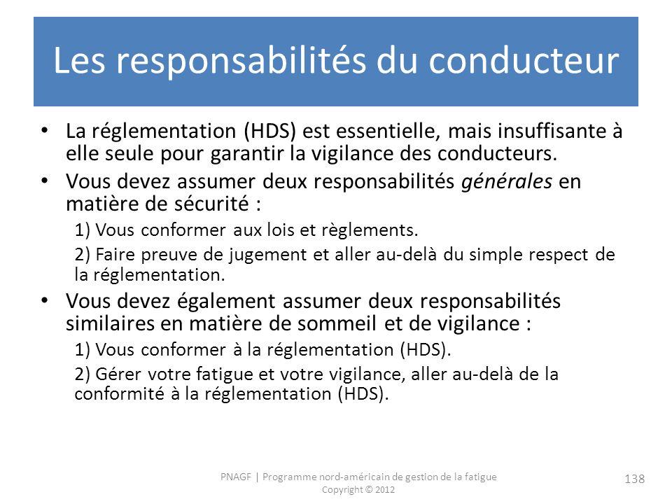 PNAGF   Programme nord-américain de gestion de la fatigue Copyright © 2012 138 Les responsabilités du conducteur La réglementation (HDS) est essentielle, mais insuffisante à elle seule pour garantir la vigilance des conducteurs.