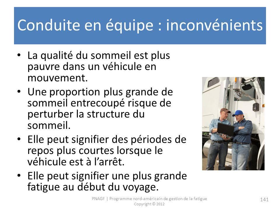 PNAGF   Programme nord-américain de gestion de la fatigue Copyright © 2012 141 Conduite en équipe : inconvénients La qualité du sommeil est plus pauvre dans un véhicule en mouvement.